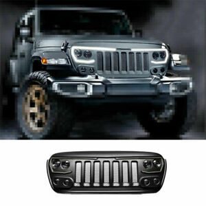 Fit For Jeep Wrangler Jl 2018 2020 Black Abs Car Front Central Grille Grill Trim