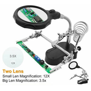 Soldering Iron Magnifier Stand Holder Station Magnifying Glass Jeweler With Clip