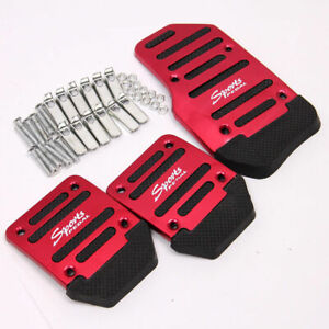 Racing Sports Red Non slip Manual Car Foot Pedals Pad Cover For Ford Toyota Audi