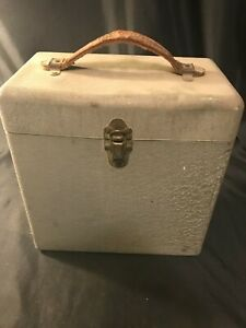 Vintage Grey Metal Portable File Cabinet Case Box Leather Handle