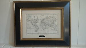 Original Antique World Map Ca 1800 Framed Chart Of The World Vintage