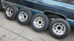 4 9 50r16 5lt General Tires On Chrome 8 Lug Wagon Wheels Chevy Gmc Ford Mopar