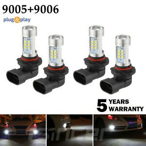 4pcs 9005 9006 Led Combo Headlight Bulbs High Low Beam Kit 220w Cree 6000k White