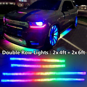 4pcs 4ft 6 5ft Double Row Led Strip Lights Dream Color Chasing Ip68 Waterproof