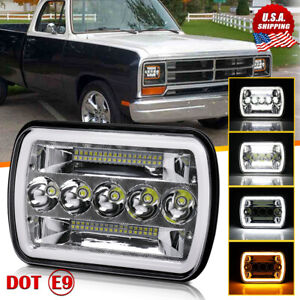For Dodge W250 D350 Ram 81 93 Dodge Ramcharger 7x6 5x7 Halo Drl Led Headlight