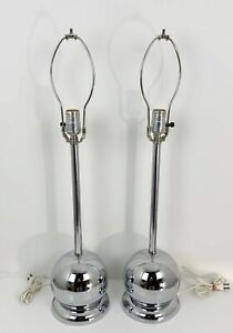 2 X Vintage Mid Century Modern Chrome Table Lamps Atomic Orb Pair