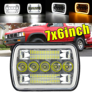 7x6 Led Headlights Drl Amber Turn Light For Nissan Pickup Hardbody 240sx D21 Nx