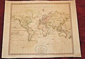 Early Hand Colored World Map From 1801 By John Cary