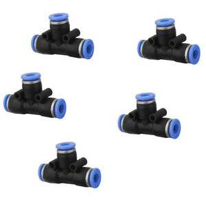 5 Pcs Air Pneumatic Tee Adapters Connectors Fittings 6mm To 6mm