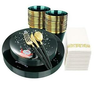 175pcs Green And Gold Disposable Plates With Snowflake gold Silverware Green