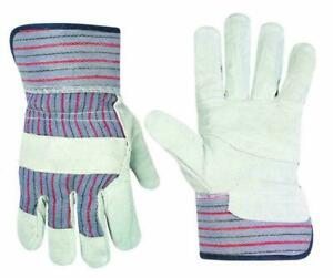 Custom Leathercraft 2046 Work Gloves With Safety Cuff And One Size Fits Most