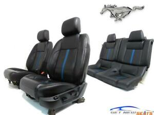 Ford Mustang Coupe Black Leather Blue Stripe Seats S197 2005 2009 2010 2014