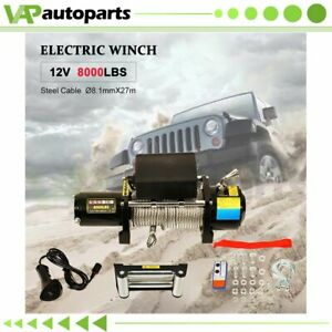 1x Electric Winch 8000lb Steel Cable 12v Truck Trailer For Toyota 1958 1992 New