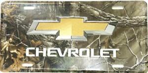 Chevrolet Logo Camouflage Embossed License Plate Sign