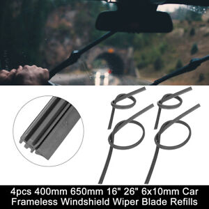 4pcs 400mm 650mm 16 26 6x10mm Car Frameless Windshield Wiper Blade Refills