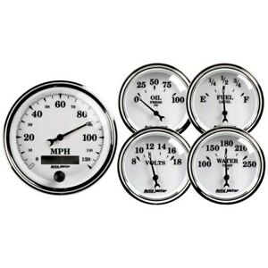 Autometer 1200 Old Tyme White Ii 5 Piece Gauge Set Electric