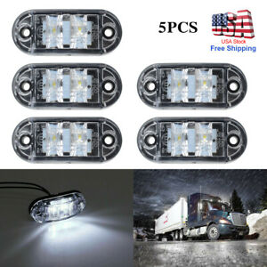 5pcs 2 Led White Light Oval Car Clearance Trailer Truck Side Marker Tail Lamp