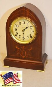 Restored Seth Thomas Prospect 11 1913 Antique Gothic Cabinet Clock In Mahogany