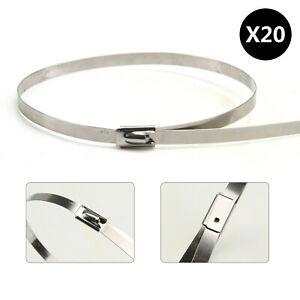 20 Pcs 11 Stainless Steel Exhaust Wrap Ul Approved Locking Cable Zip Ties Metal
