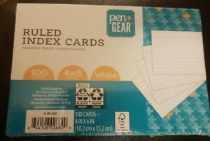 Pen gear Ruled Index Cards 100 Count 4 X 6 Inch White Flash Cards School Supply