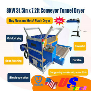 Usa 8000w 31 5 Belt Conveyor Tunnel With Ir Flash Dryer For Screen Printing
