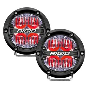 Rigid Industries Pair Of 360 Series 4 Round Red Driving Beam Led Lights 36116