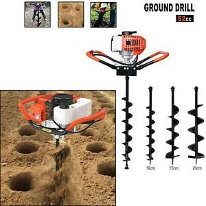 52cc Gas Powered Post Hole Digger W 4 6 8 10 12 Earth Auger Digging Engine