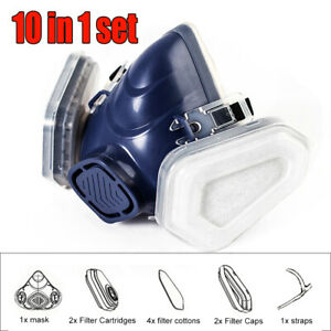 10 In1 Half Face Gas Mask Respirator Set For Paint Spray Chemical Woodworking Us