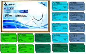 32 Pack Assorted Practice Surgical Sutures Silk Nylon Polyester Polypropylene