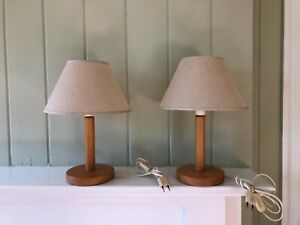 Vintage Mid Century Modern French Wood Table Lamps Perriand Chapo Pair Martz