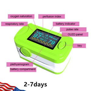 Green Fingertip Pulse Oximeter Spo2 Pr Pi Respiration Rate Patient Monitor Oled