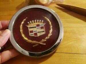 Cadillac Wire Wheel Center Hub Caps Vintage Red Hub Emblem Used