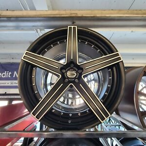 22 Giovanna Staggered 5 Lug Matte Blk Machined Wheel Tire Package