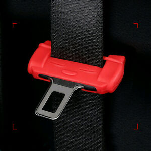 Car Accessories Safety Seat Belt Buckle Clip Silicone Anti Scratch Cover Red