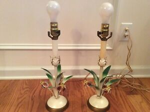 Vintage Tole Metal Flowers Candlestick Lamps Made In Italy