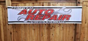 Complete Auto Repair Foreign Domestic Banner Shop Sign 2x8 Outdoor Vinyl Mesh