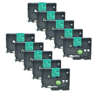 10pk Tz 731 Black On Green Label Tape Tze 731 For Brother P touch Pt 1880 12mm
