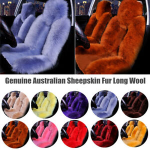 Genuine Australian Sheepskin Fur Long Wool Universal Car Front Seat Cover Winter