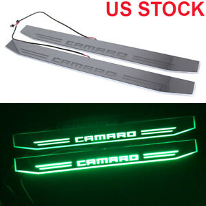 2x Dynamic Green Led Car Door Pedal Light For Chevrolet Camaro Rs Ss Zl1