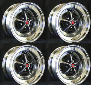 Magnum 500 Wheels 14x7 Set Of Complete W Caps And Lug Nuts 14 X7 Red Centers