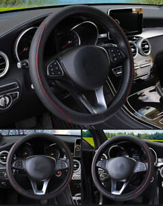 Black Red Car Steering Wheel Cover Leather Breathable Anti Slip Car Accessories