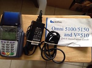 Verifone Omni 5100 3730 Vx510 Credit Card Reader With Power Ac Adapter Manual