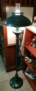 Rare Vintage Tole Painted Metal Shade Floor Lamp Green Gold