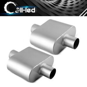 Pair Dual Chamber Muffler 2 5 Inlet Outlet Race Performance Resonator Weld On