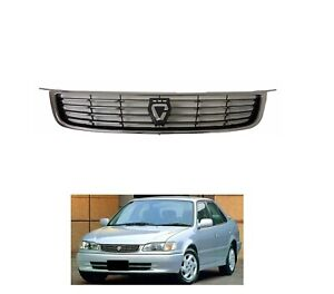 Grille Fit For Toyota Corolla 1998 1999 2000 2001 Jdm Gloss Black Front Bumper