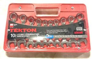 Tekton 10pc Stubby Combination Wrench Set 15 Angled Open Ends 1919