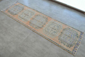 3x11 Rug Distressed Runner Rug Hand Knotted Muted Vintage Turkish Oushak Rug
