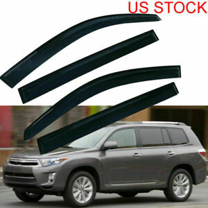 Window Visors Sun Rain Deflectors For Toyota Highlander 08 09 2010 2011 12 2013