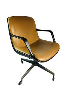Vintage Mcm Steelcase Office Chair Bucket Seat Mid Century Modern Faux Leather