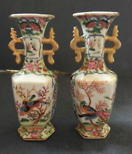 Pair Of Chinese Famille Rose Porcelain Two Handled Vases 19th Century